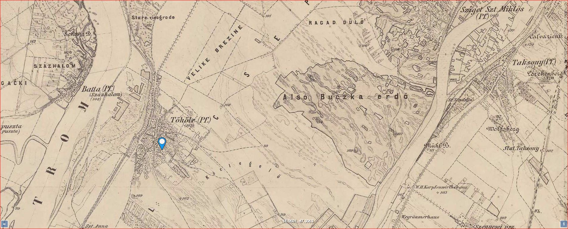 Tököl(e)_Magyar Királyság térképe-1869-1887